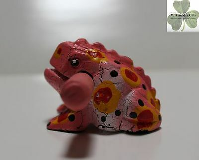 Frog, Guiro Rasp, Wooden Musical Toy, Pink with Yellow/Red Spots 2 inch size