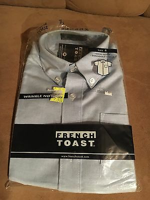 Boys French Toast Blue Short Sleeve Dress Shirt Size 4 New With Tags