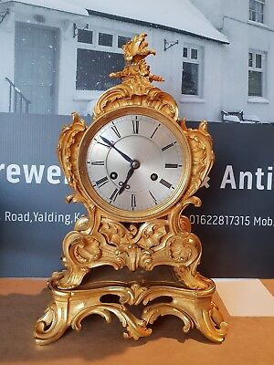 "Antique French 1820`S gilt ormolu  Rococo mantle clock on base by ""Pons of Paris"