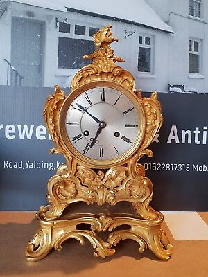 "Antique French 1820`S gilt ormolu bronze Rococo mantle clock on base by ""Pons"""