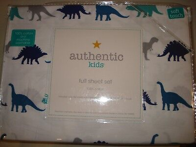 New Authentic Kids FULL sheet set DINOSAURS 100% Cotton