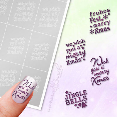 Airbrush + Nailart Stick Templates WS16 Lettering Christmas Frohes Fixed Snow