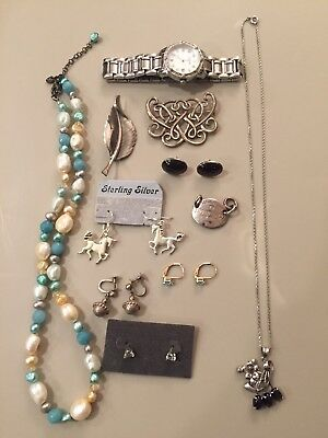 14k And 10k Vintage To New Sterling Gemstone Jewelry Lot Please Read
