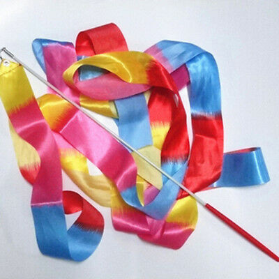 4m Kids Dance Ribbon Gym Rhythmic Art Gymnastic Ballet Streamer Twirling RodLJ