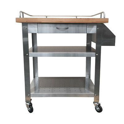 Stainless Steel Kitchen BBQ Serving Trolley w Slide Out Drawer & Wood Benchtop