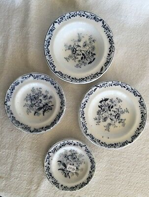 17-33:  Antique Transferware Child's Toy China Dish Plates Floral Signed 1800s