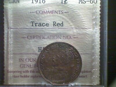 1916 Canada Large Cent ICCS MS-60 Trace Red