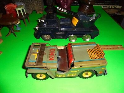 2 Vintage Toy Military Stamp Metal Tin Vechilces C-1960 Made In Japan, As Is