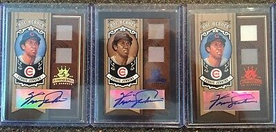 Lot of 3 Fergie Jenkins Autographs and Game Used, All three # to 25. Auto