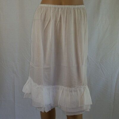 Frilled COTTON HALF SLIP Size 16 White NEW Womens Petticoat Skirt