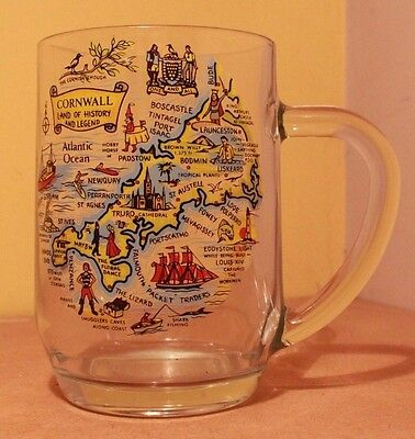 "Vintage Cornwall Land of History and Legend Decorative 5"" Glass Beer Stein VGC"