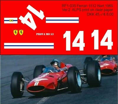 1:24 Decals for Ferrari 1512 NART 1965