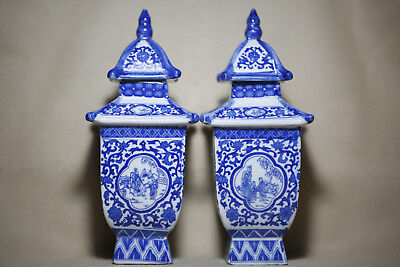 2PCS Antique fine Chinese beautiful Blue and white Porcelain flat Square tower