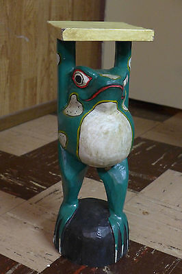 Indonesian / Balinese Handcrafted Wooden Frog Stand