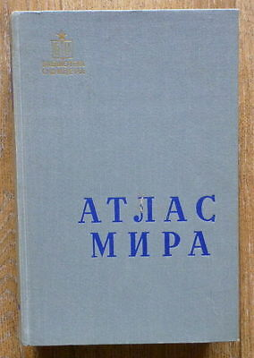 1958 Russian Book World Atlas Photo Map Geography Europe America Ukraine Donbass