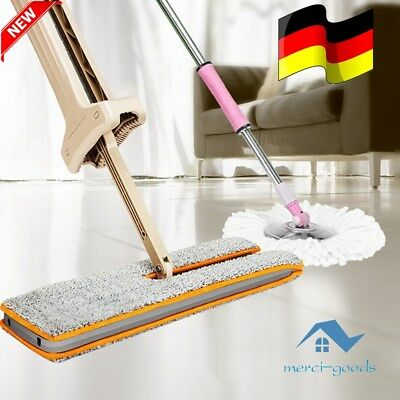 Self-Wringing Double Sided Flat Mop Telescopic Handle Mop Floor Cleaning Tool ed