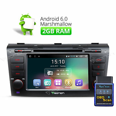 """7""""Android 6.0 2GB Car Radio DVD GPS CD MP3 Player Touch DAB+ for Mazda 3 B OBDII"""
