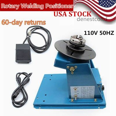 Rotary Welding Positioner 2-10RPM Turntable 3 Jaw Lathe Chuck 10KG 110V