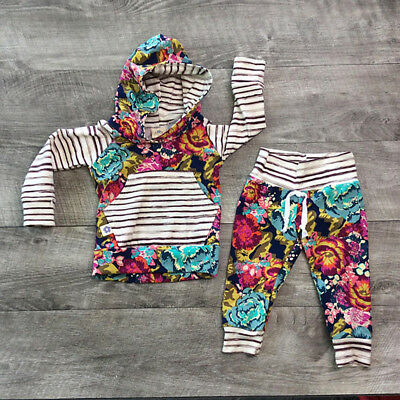 AUStock Kids Baby Girl Toddler Clothes Hooded Top+Long Pants Leggings Outfit Set