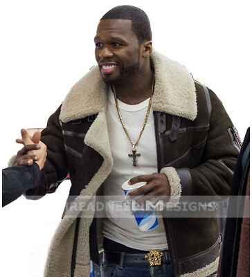 50 Cent Power Brown Suede Leather Fur Jacket