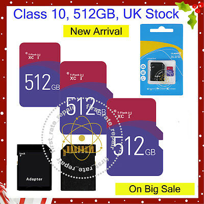 512GB Class 10 Micro SD Card & free Adapter For Smartphones Tablets Cameras etc