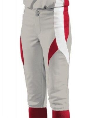 (Small, Silver/Scarlet/White) - Women's Stinger Softball Pant. Teamwork