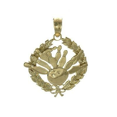 14k Yellow Gold Sports Charm, Bowling Story In Leaf Circle 2-D. Million Charms