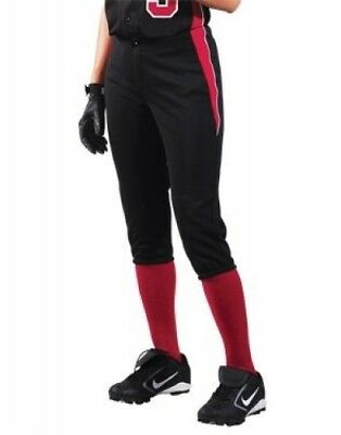 (Large, Fuchsia/Black/White) - Women's Changeup Softball Pant. Teamwork