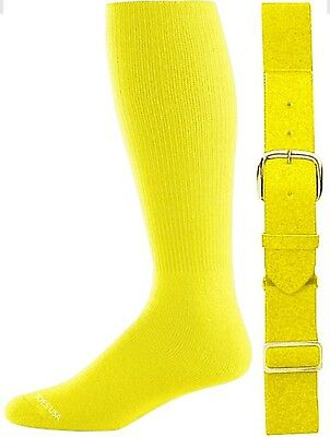 (Youth, Neon Yellow) - Baseball/Softball Belt & Sock Combo (Youth & Adult