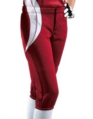 (Small, Scarlet/White/White) - Women's Sweep Softball Pant. Teamwork
