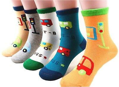 (3-5 Years, little Car) - CHUNG Girls Boys 5 Pack Thin Cotton Crew Socks Cute