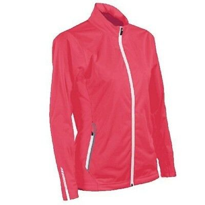 (Small, Coral-White) - Sun Mountain 2017 Women's Rainflex Jacket. Free Delivery