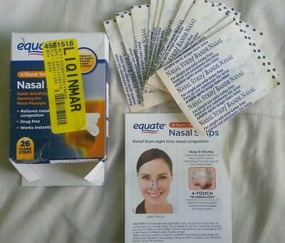 Equate Nasal Strips Lot Of 26  Clear Strips New In Open Box