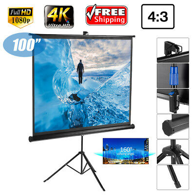 "100"" Pantalla de proyección Roll-up (4:3) HD Projector Movie Con soporte trípode"