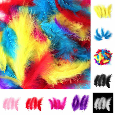 Lots Fluffy Feathers Mixed Color Card Jewelry Brooch Craft Making  Wedding Decor
