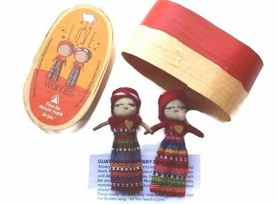 (2) LOVE Large Worry Doll Dolls In a red Wooden Box By Mayan Artisans Fair Trade