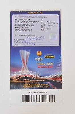 TICKET UEFA EL Final 2015 Dnipro Dnipropetrovsk vs Sevilla FC
