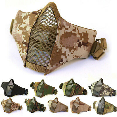 Tactical Half Face Mesh Airsoft Steel Mesh Hunting Mask Protect Cover Breathable