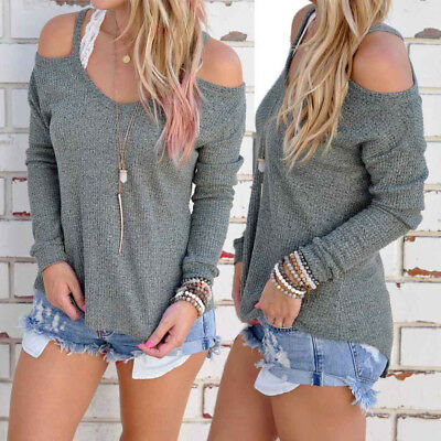 Fashion Women Fashion Long Sleeve Strapless Tops Blouse Casual Sports T-shirt