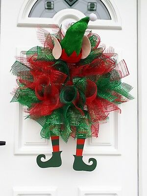 Large Christmas elf wreath suitable for indoor and  outdoor use - handmade