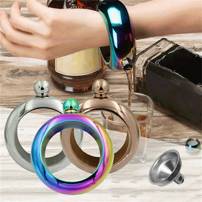 3.5oz Portable Stainless Steel Hip Flasks Holder Alcohol Drink Bangle Bracelet