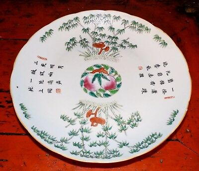 Top Chinese 19th c. Deep Porcelain Plate Calligraphy Peach Fungus Bamboo Tongzhi