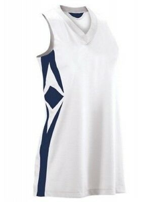 (Large, White/navy) - Women's Supernova Racerback Jersey. Teamwork