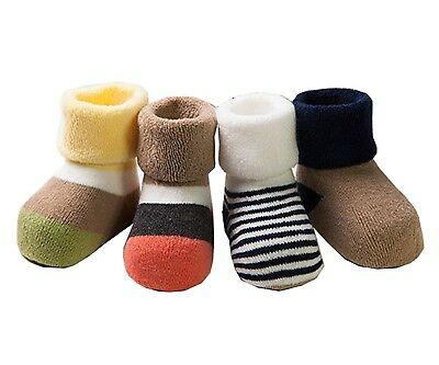 (3-5 Years, Boys) - Ensnovo 4 Pairs Thick Combed Cotton Baby Socks