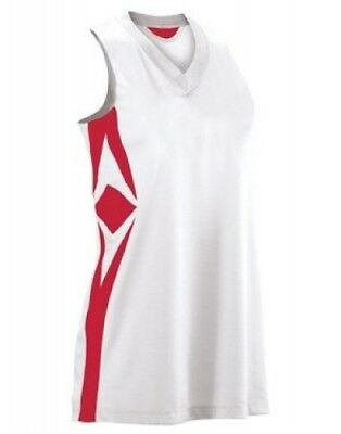 (Large, White/scarlet) - Women's Supernova Racerback Jersey. Teamwork