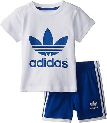 (9 Months, White/Collegiate Royal Blue) - adidas Originals Trefoil Tee and