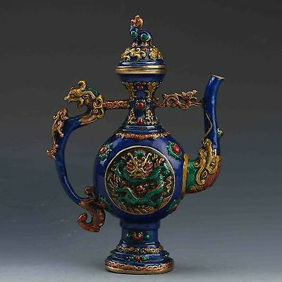 BEAUTIFUL CHINESE CLOISONNE HANDMADE DRAGON FLAGON teapot