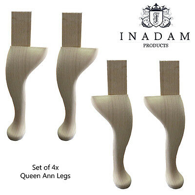 Brand New Set of 4x Queen Ann Legs - Made in the UK - Unfinished - Solid Beech
