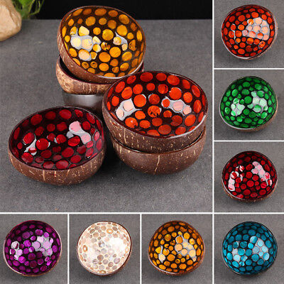Natural Coconut Shell Bowl Dishes Kitchen Paint Craft Home Decor Geometric Shape