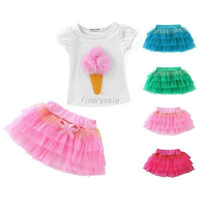 Baby Girl Toddler T-Shirt +Tutu Dress Skirt Kid Children Clothes Outfits Costume